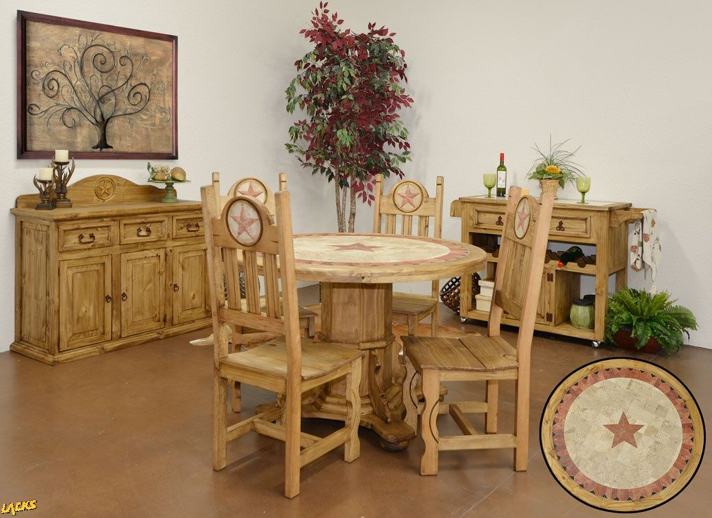 50 Round Top Table With Matching Buffet And Kitchen Cart Featuring The Texas Star Design