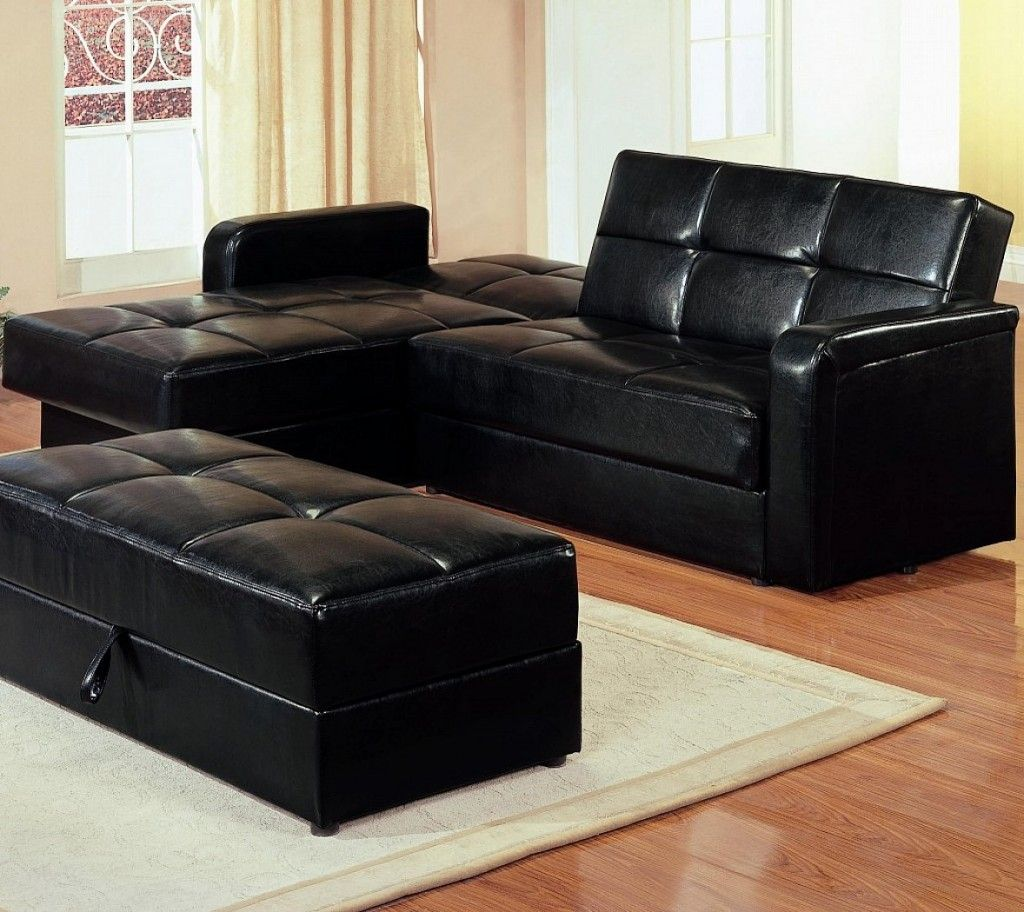 Black tuffted sectional sleeper sofa Sectional sleeper