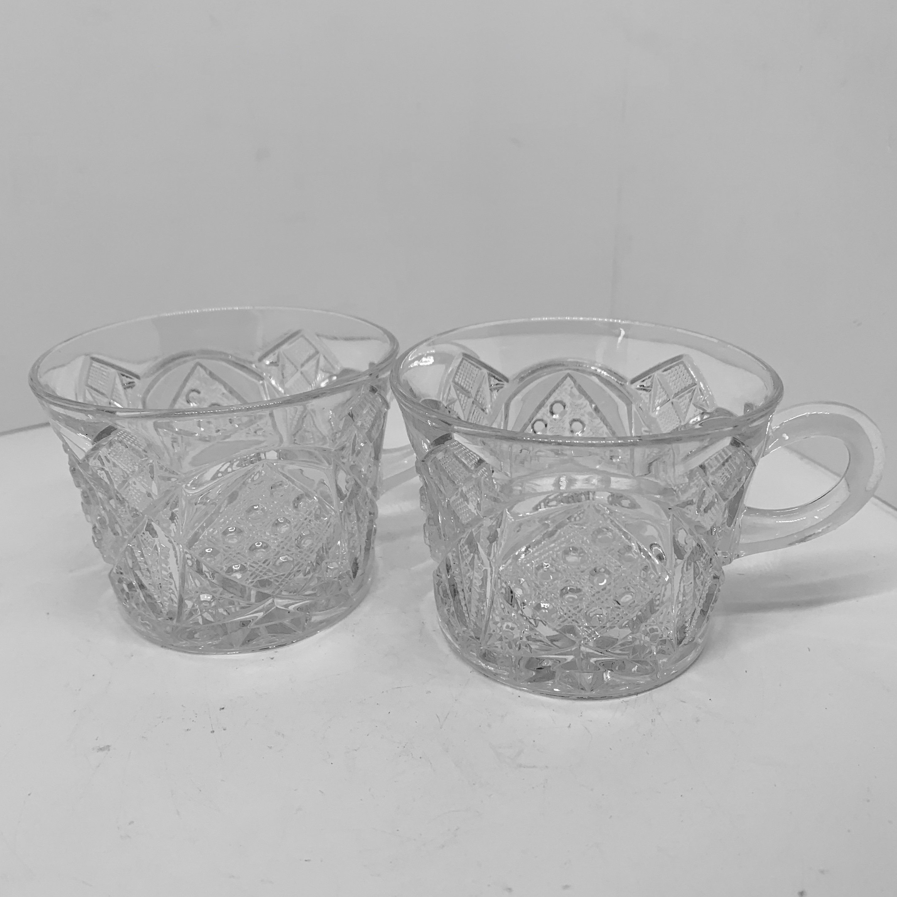 Patterned Glass Pressed Glass Punch Cups Pretty Vintage Drinkware Small Glass
