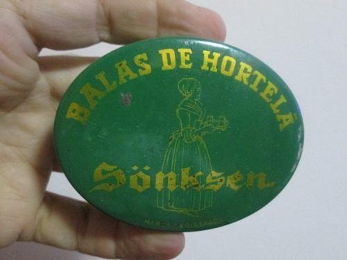 linda lata antiga balas de hortelã sonksen chocolate coleção