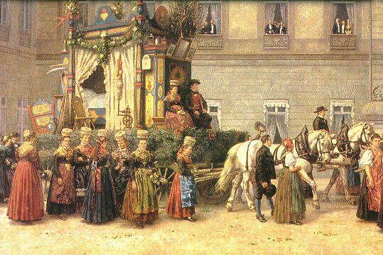 """Der Festzug der Grünen Hochzeit  Heinrich Issel (1838 - 1889): """"Festzug der Grünen Hochzeit """" (1892) Detail: Das Grüne Hochzeitspaar auf dem... #Schapbach"""