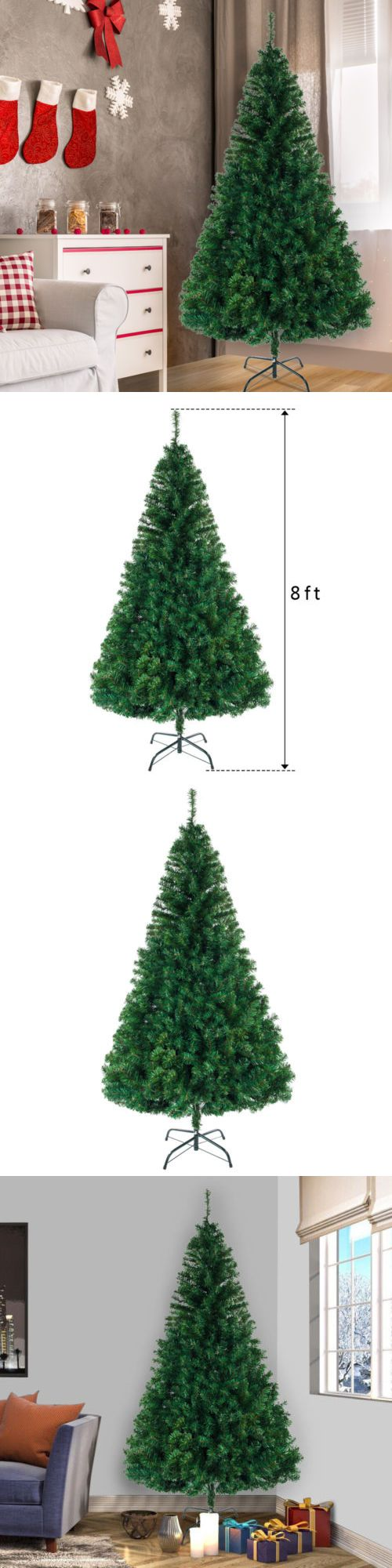Indoor Outdoor White Artificial Christmas Xmas Tree With Stand Home Decor 8ft Christmas Decorations & Trees Tree