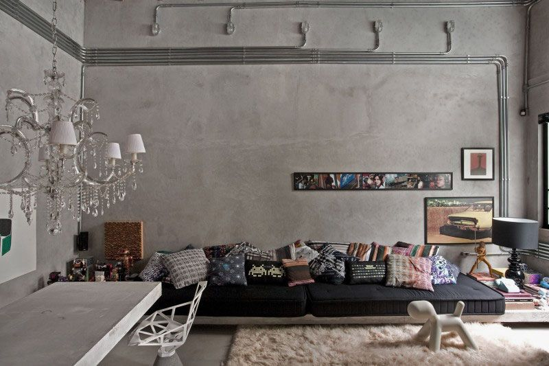 Concrete Wall Brings Industrial Chic In The Interior Concrete Wall Ideas Exposed Concrete Wal Apartment Interior Design Interior Design Living Room Loft Design