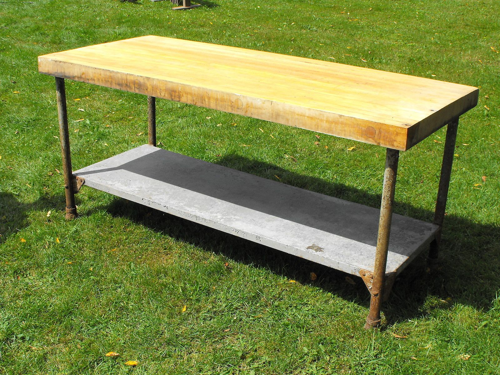 Old Wood Counter Top Table Butcher Block Work Bench Ball Feet Kitchen Island