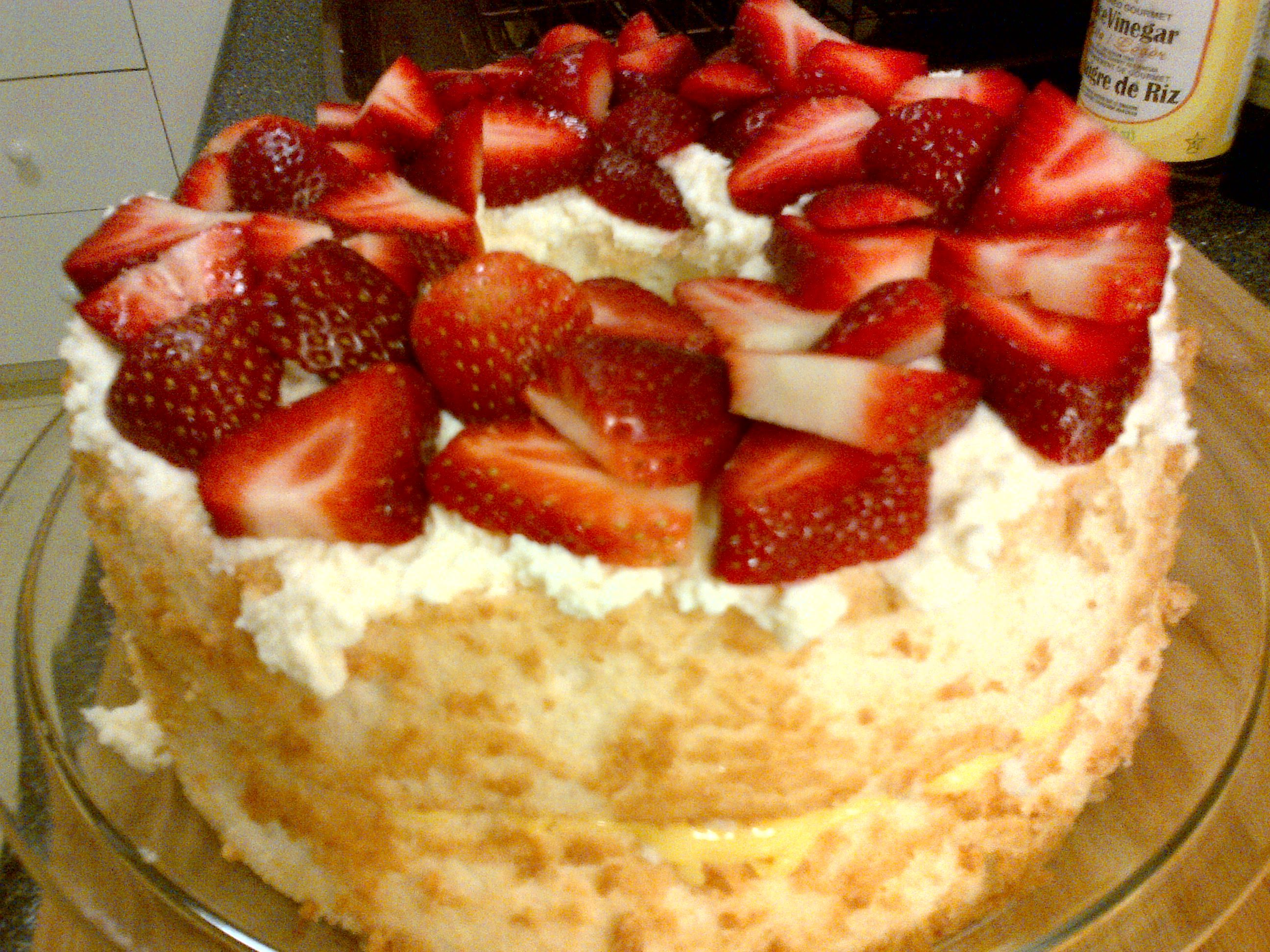 Easter Angel Food Cake With Lemon Custard Filling And Strawberries