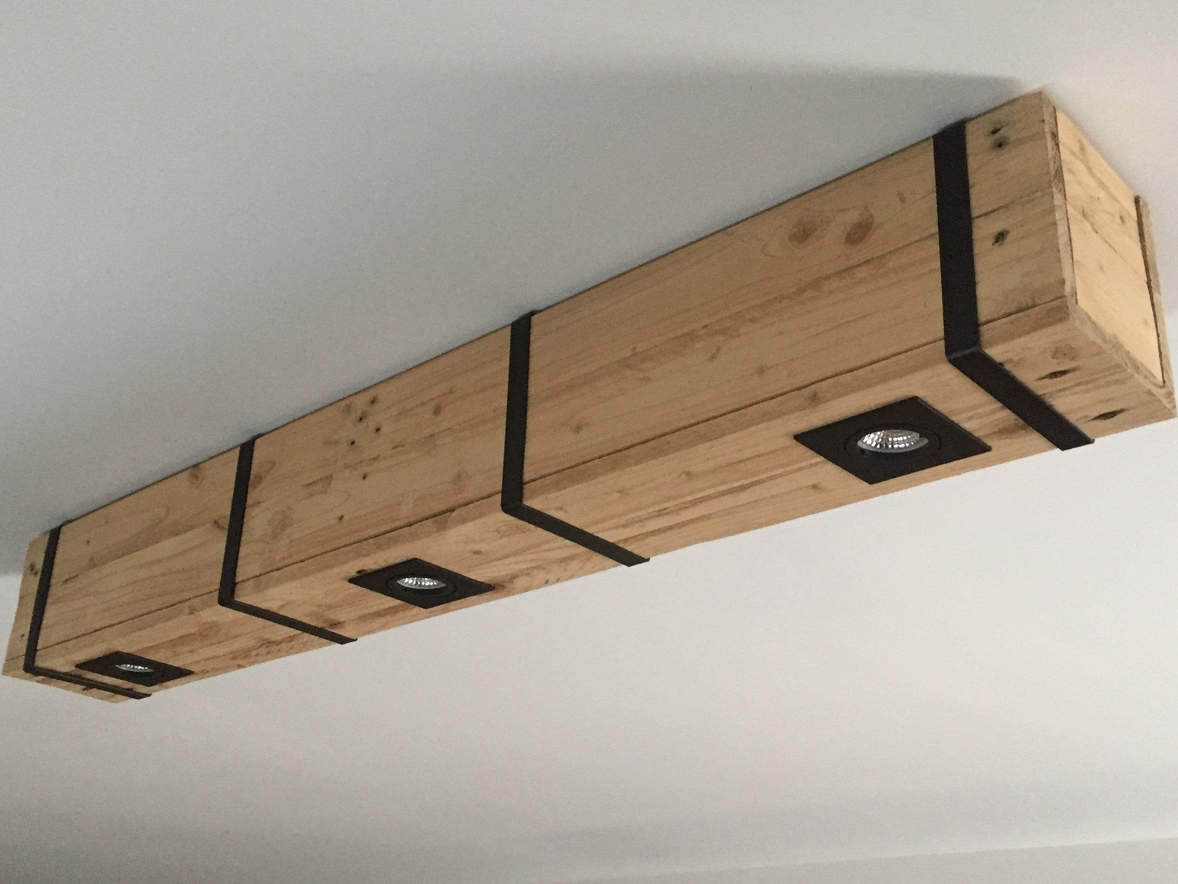 Ceiling Lamp In Recycled Pallet Wood Metal Strapping 3 Leds Spotlights Recycled Pallet Ceiling Lamp Wood Pallets