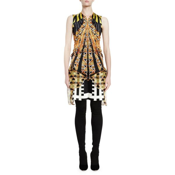 Givenchy Sleeveless Optical Wings Print Sheath Dress ($695) ❤ liked on Polyvore featuring dresses, multi colors, women's apparel dresses, multi colored dress, v neck sheath dress, v-neck dresses, scalloped dress and scalloped v neck dress