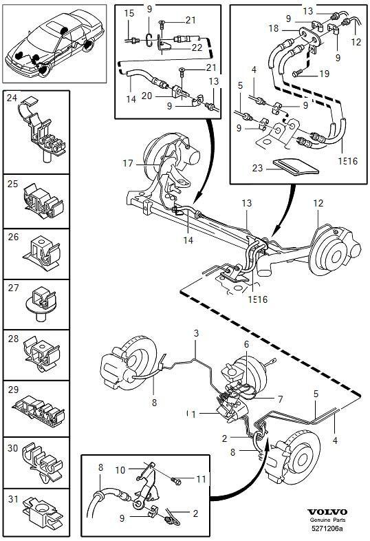 1999 Volvo V70 5DRS S.R 2.5l 5 cylinder Brake lines with