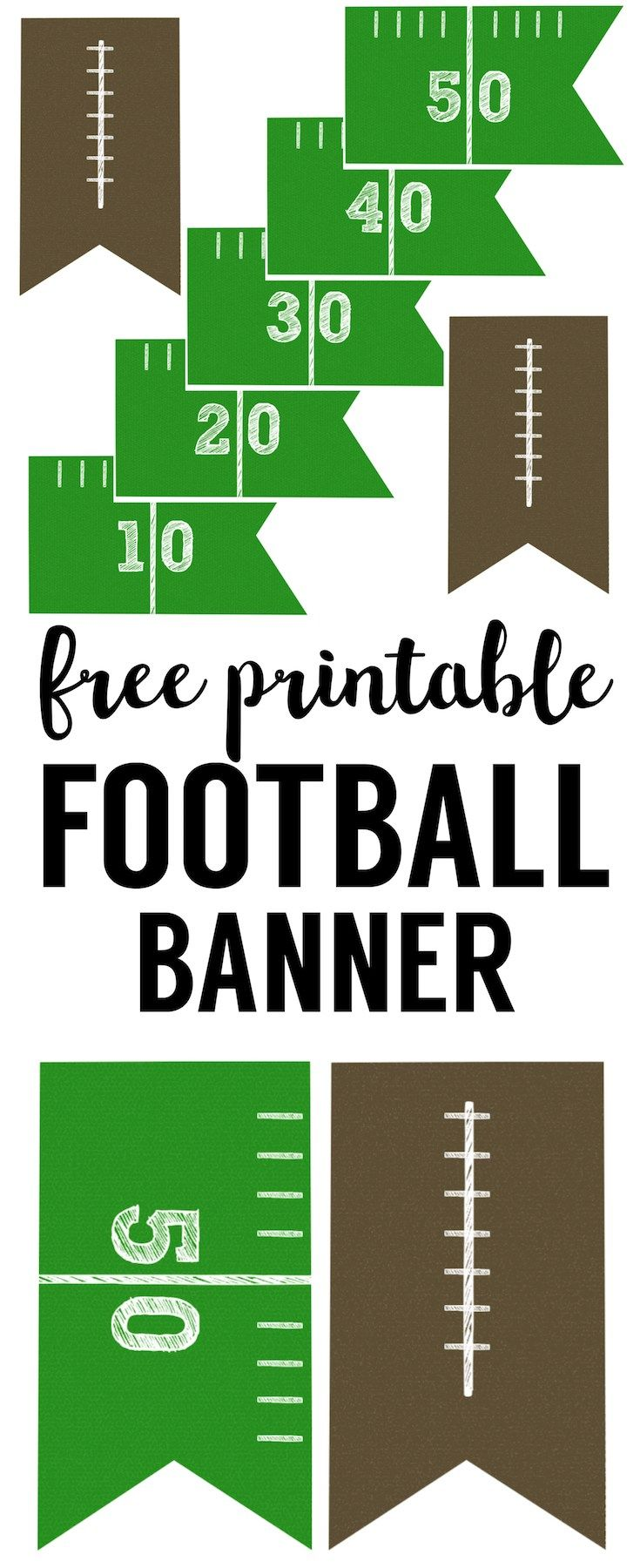 c46866300 Football Banner Free Printable. Free printable football decorations. This  DIY football banner printable is easy and simple for your super bowl party  or kids ...