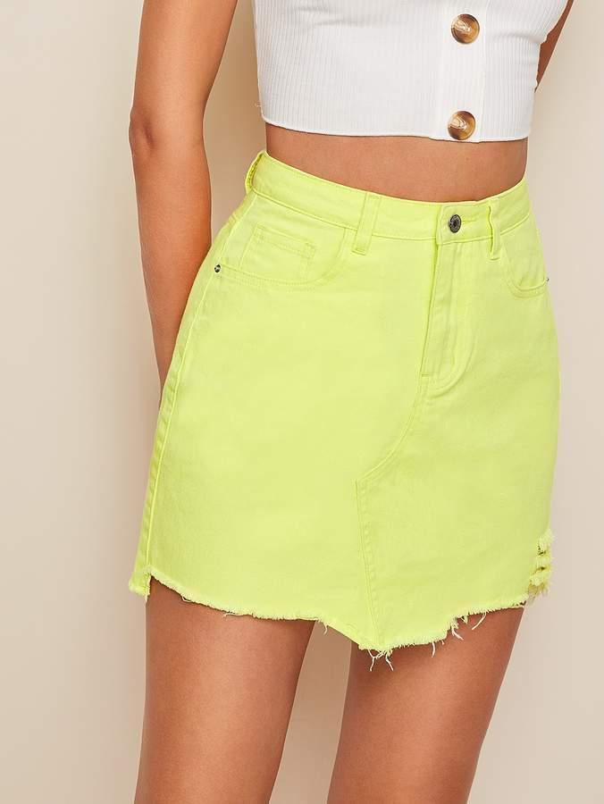 a281c0fec5 Shein Neon Yellow Ripped Raw Hem Denim Skirt in 2019 | Products ...