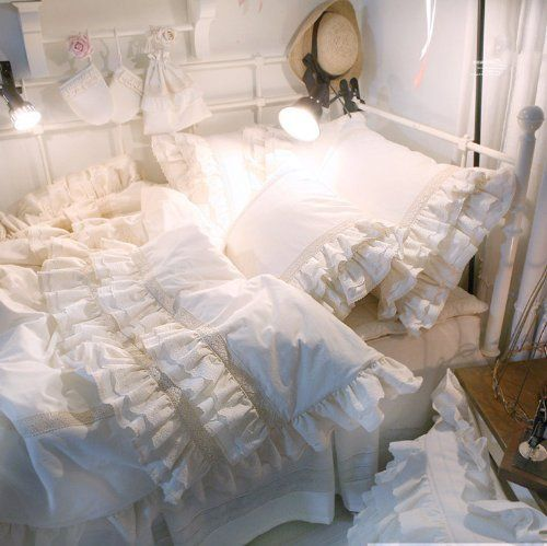 Diaidi Home Textile White Ruffle Duvet Cover Bedding Set Luxury Princess Lace Ruffle Bedding Set Twin Queen Ruffle Bedding Sets Ruffle Duvet Cover Lace Bedding