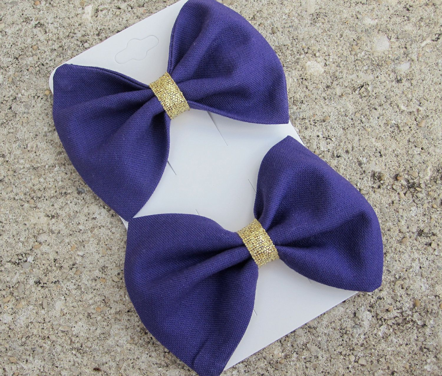 Fabric Bow Tie Hair Bow Set: Purple and Gold Hand Sewn $8