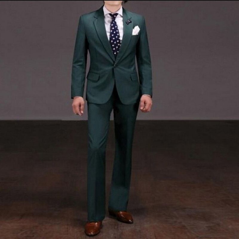 Notch Lapel Groom Tuxedo Dark Green Mens Wedding Suits 2018 Best Terno Slim Fit 2 Pieces Men Masculino Suit Jacket Pants