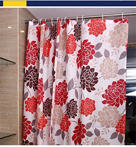 Joybuy Red Flowers Shower Curtain Waterproof/ Mouldproof/anti ...