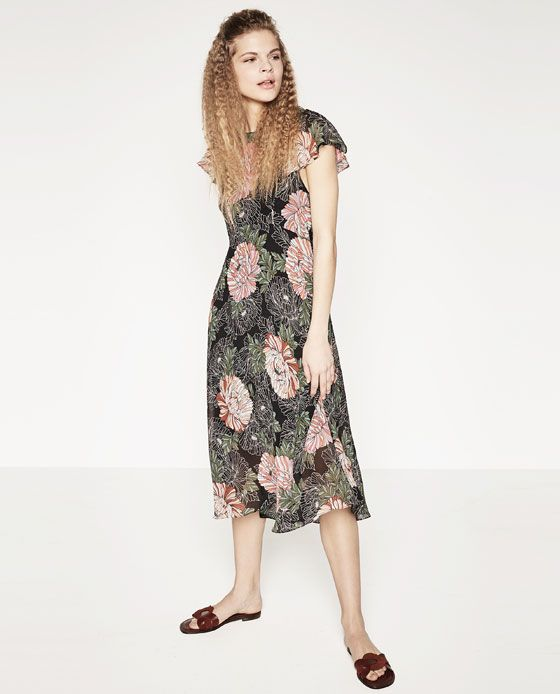ZARA - NEW IN - PRINTED DRESS WITH FRILLS