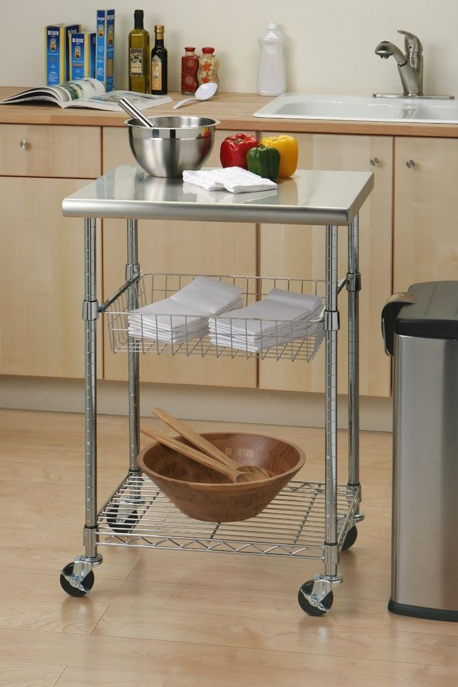 stainless steel rolling mobile kitchen workstation table cart island rh pinterest com