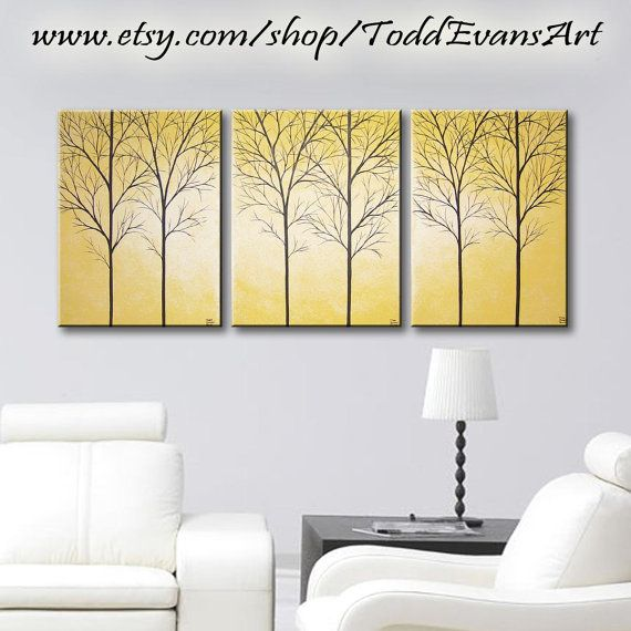 3 piece Canvas, set, Large Wall Art 36 inch Yellow Triptych Trees ...