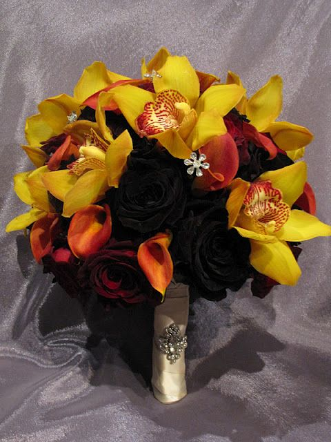 Bouquet with Yellow Cymbidiums and Deep Red Roses