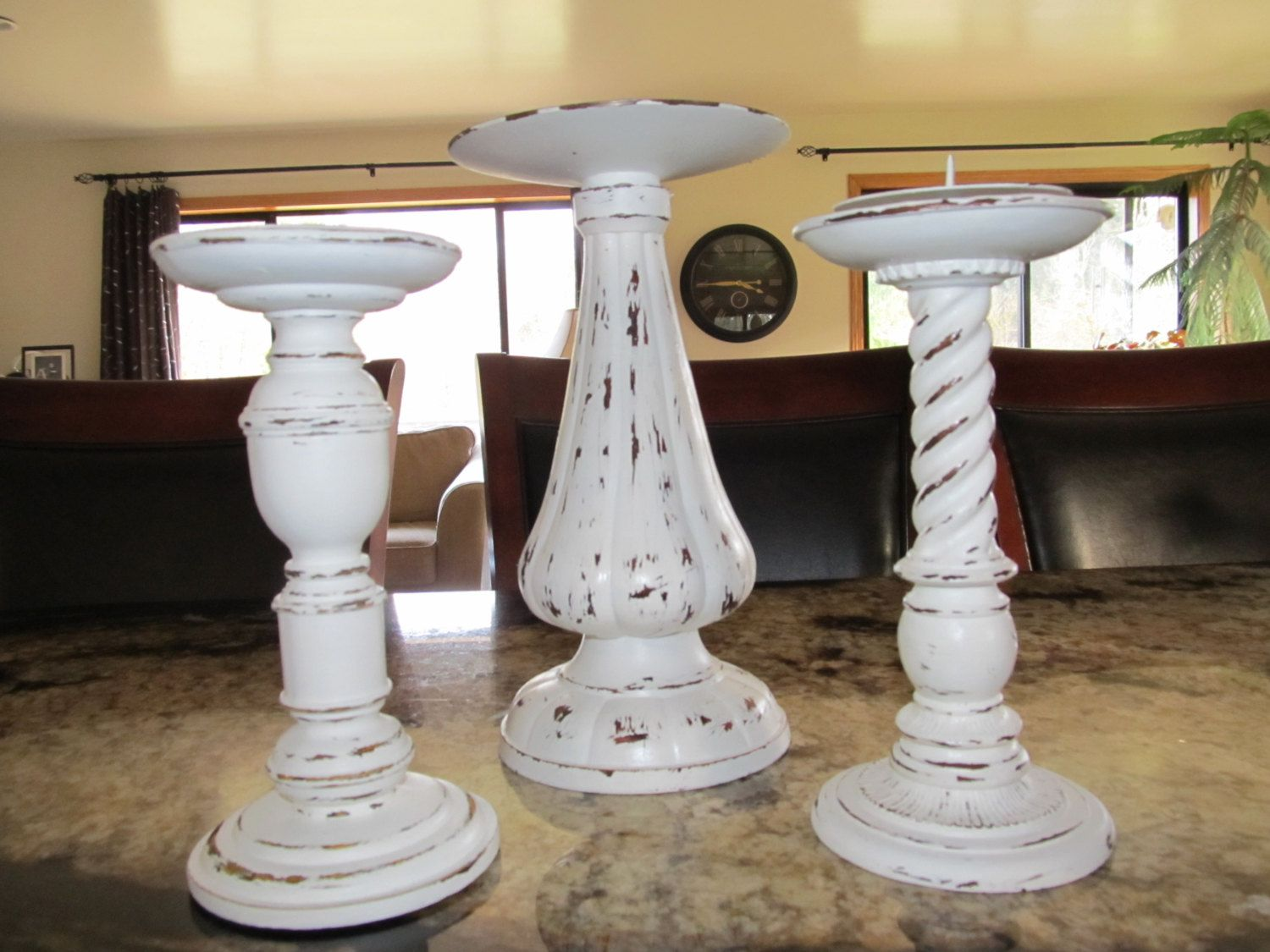 Three piece shabby chic pillar candle holders antique white via etsy