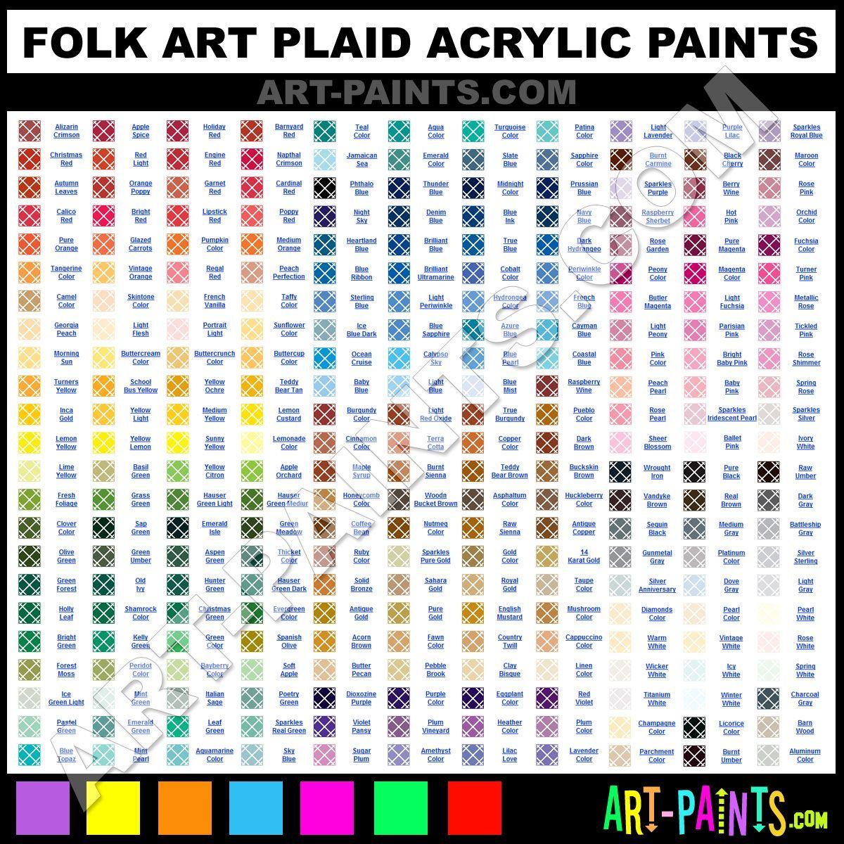 Folk art acrylic paint color chart crafts general for Folk art craft paint