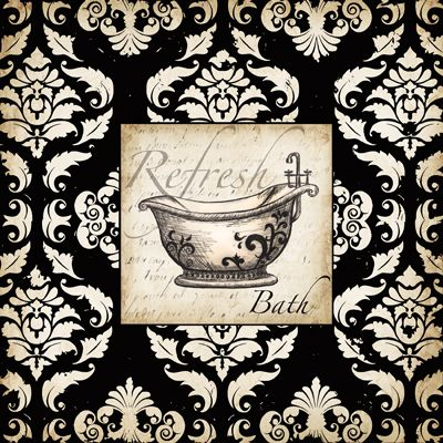 RB4998TS <br> Black and White Damask Bath I <br> 12x12