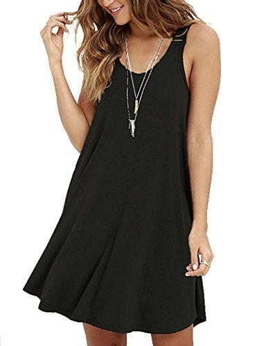 c6cddaa4064b Viishow Women's Summer Sleeveless Casual Swing Simple T-Shirt Loose Dresses  - https:/