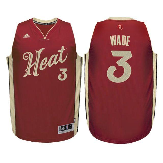Heat #3 Dwyane Wade Red Christmas Jersey | 2015 Christmas Day ...