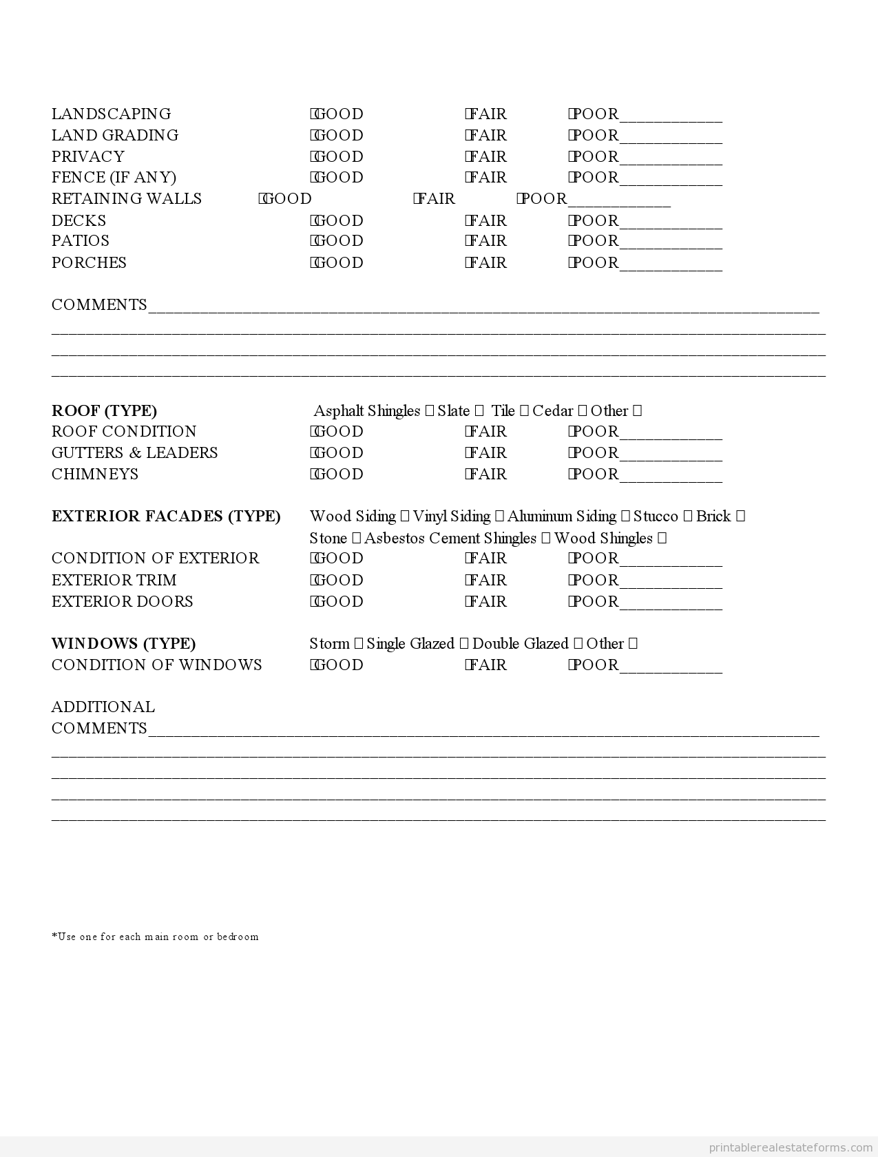 Printable property inspection checklist template 2015