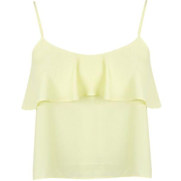 572554f18d10b Miss Selfridge Petites Lemon Frill Cami Top ( 12) ❤ liked on Polyvore  featuring tops