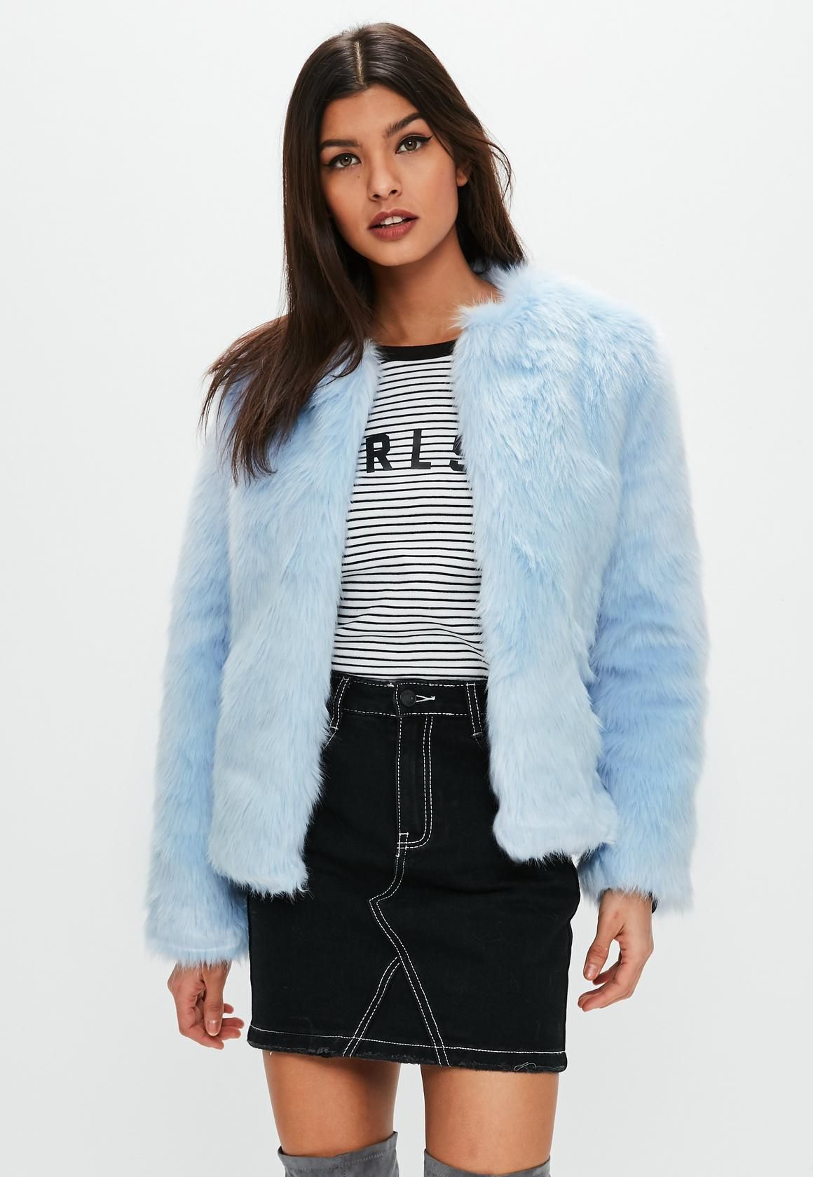 Missguided Light Blue Collarless Faux Fur Coat Blue Faux Fur Coat Collarless Faux Fur Coat Jackets