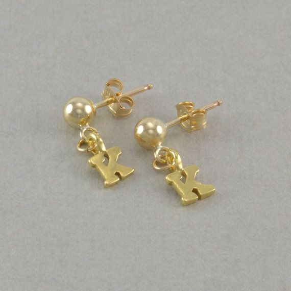 Little Girl Initial Earrings 14K gold posts personalized birthday