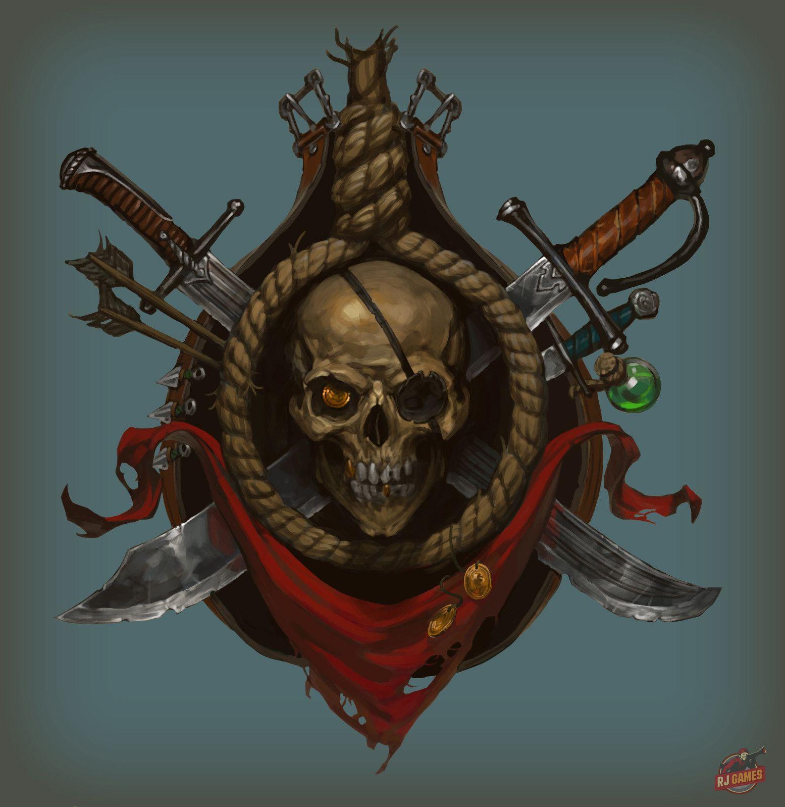 Rogue emblem, Alexander Bocharov on ArtStation at https://www.artstation.com/artwork/rogue-emblem