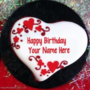 Heart Shaped Birthday Cake With Name Happy Birthday Cake Photo Happy Birthday Cake Images Happy Birthday Cakes