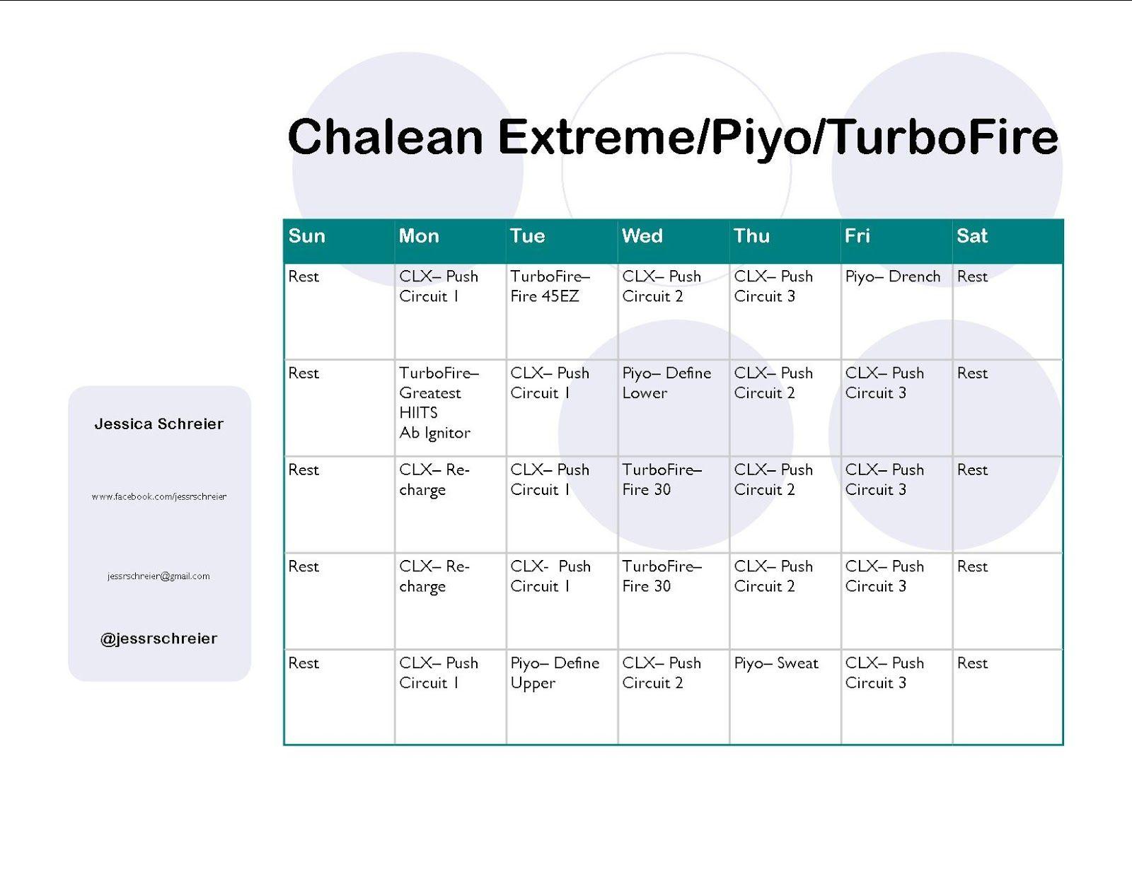 Worksheets Chalean Extreme Worksheets chalean extremeturbofirepiyo hybrid schedule fitness schedule