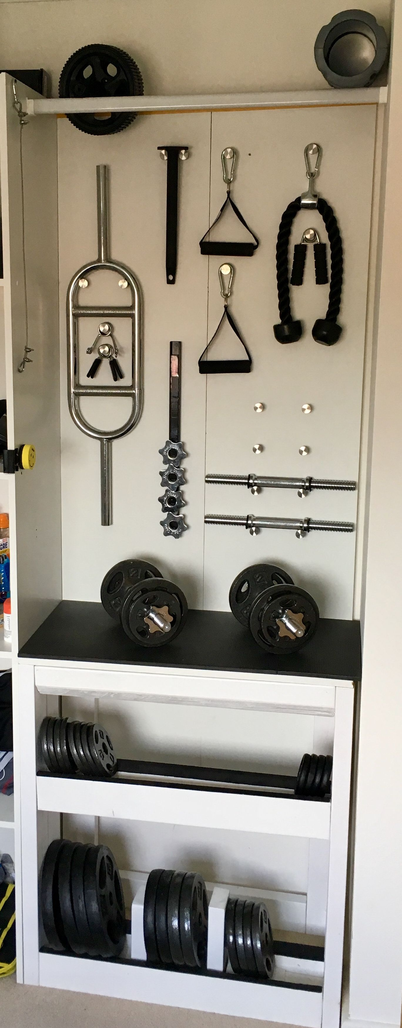 bde2b47fb73 DIY weight rack made from standard 2x4 stud wood for storing tri hold  weights in base