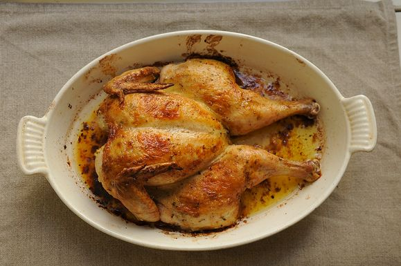 Spatchcocked roasted chicken--an easy favorite when I have company