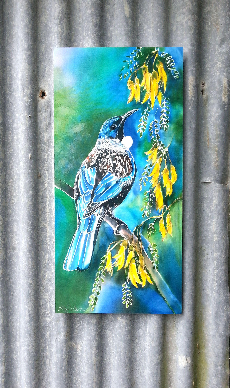 Outdoor Garden Patio Wall Art New Zealand Tui Bird Feeding On Kowhai Tree Nectar Filled Flowers Bird Art Native Nz Art Bird Art Nz Art