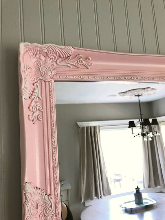 Pink Decorative Nursery Mirror Shabby Cottage Chic Leaning Wall