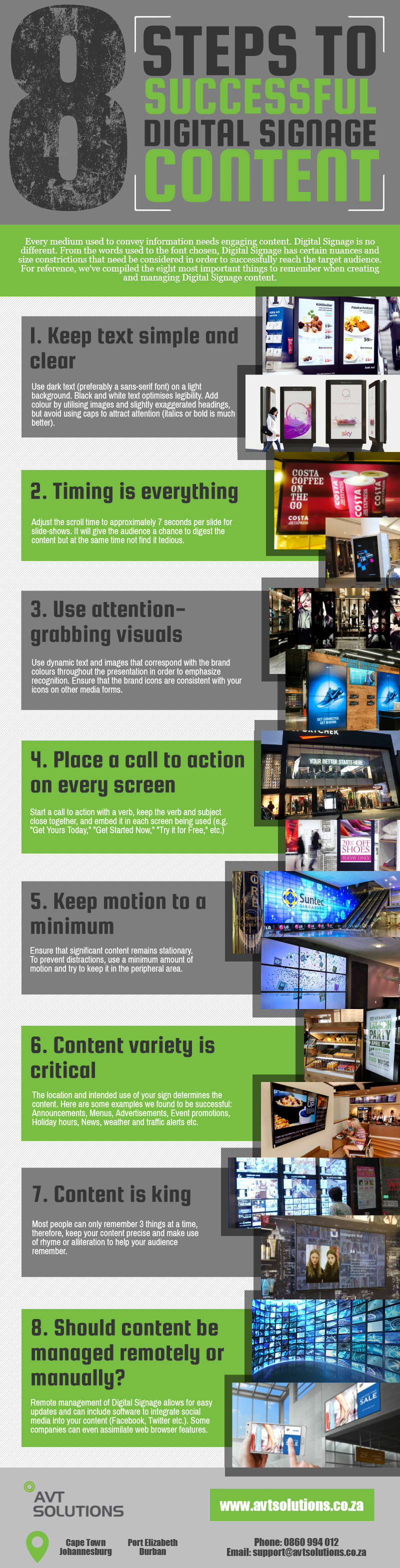 Infographic Avt Solutions 8 Steps To Successful Digital Signage Content Digital Signage Signage Digital