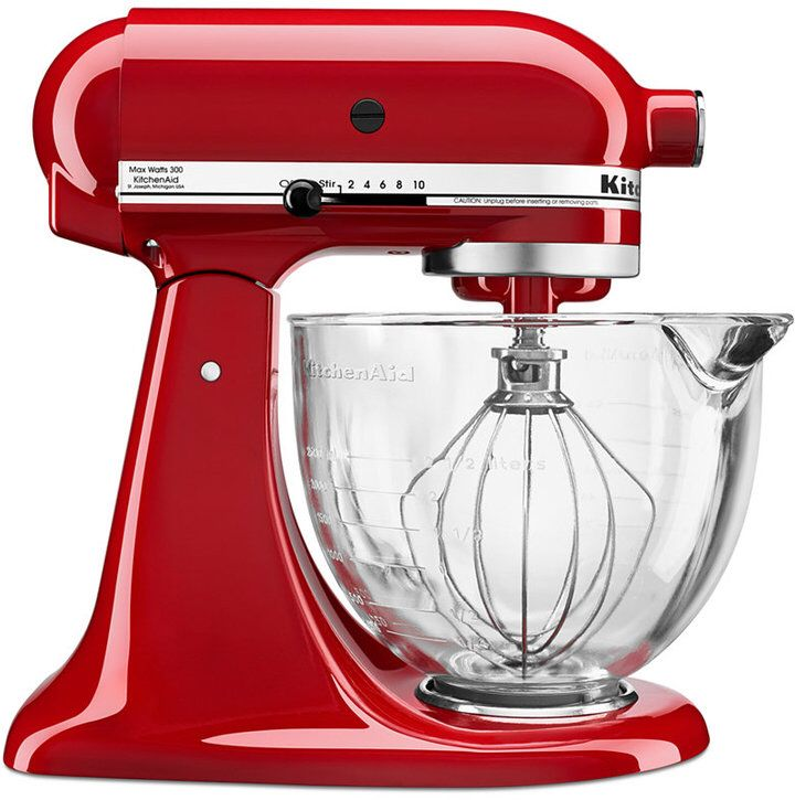 Kitchenaid ksm105gbc 5 qt stand mixer with glass bowl