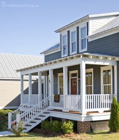 Beach House Metals Roof White Trim Brown Doors Exterior Colors