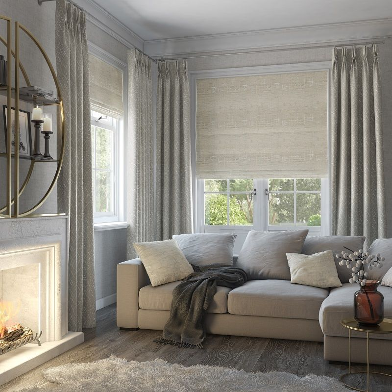 Cosy Homes For Autumn Style Studio Zyra Vintage Curtains With Maverick Blinds And Curtains Living Room Window Treatments Living Room Roman Blinds Living Room #roman #blinds #living #room