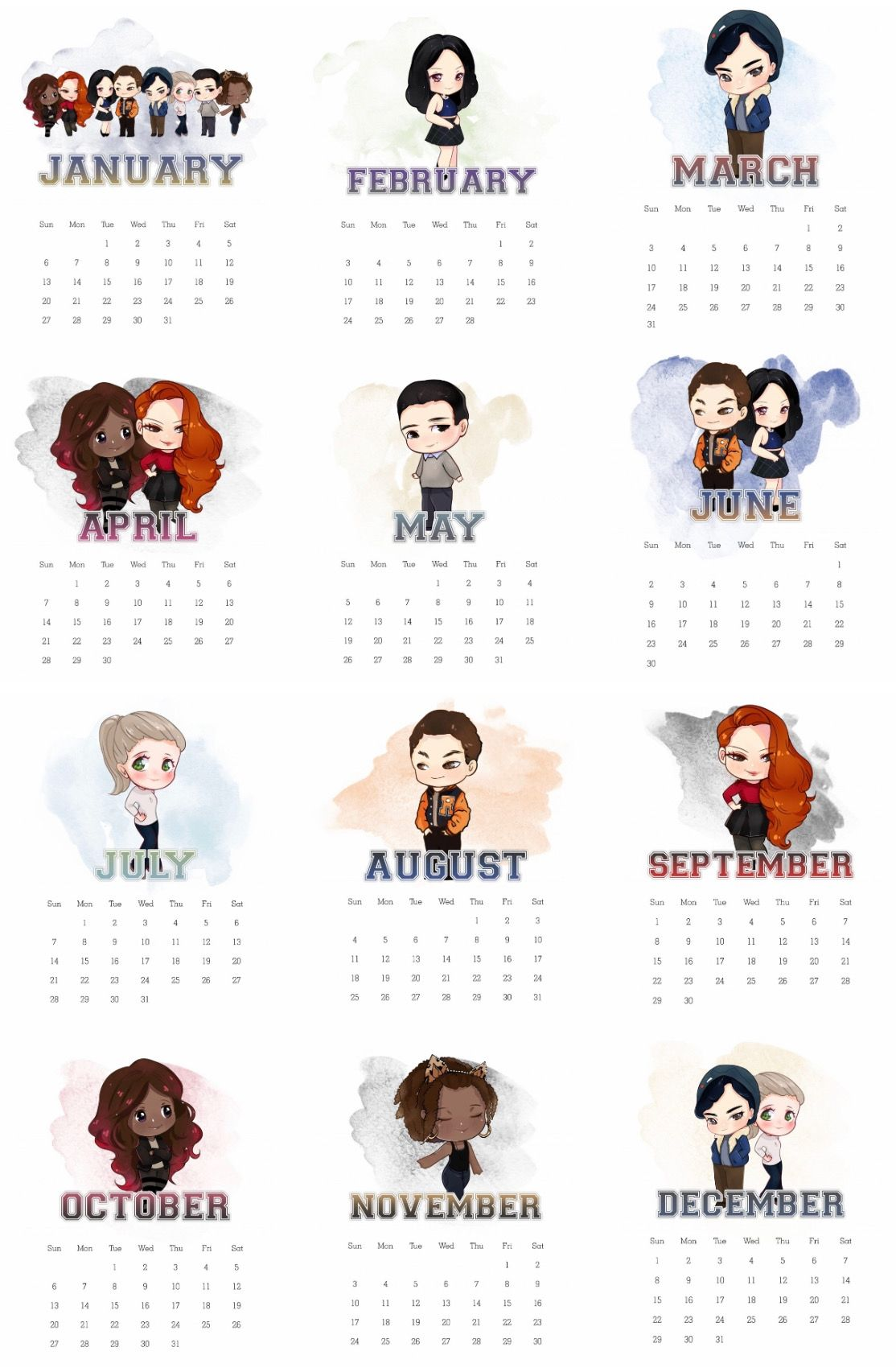 calendário riverdale 2019   Riverdale divertente, Sfondi carini