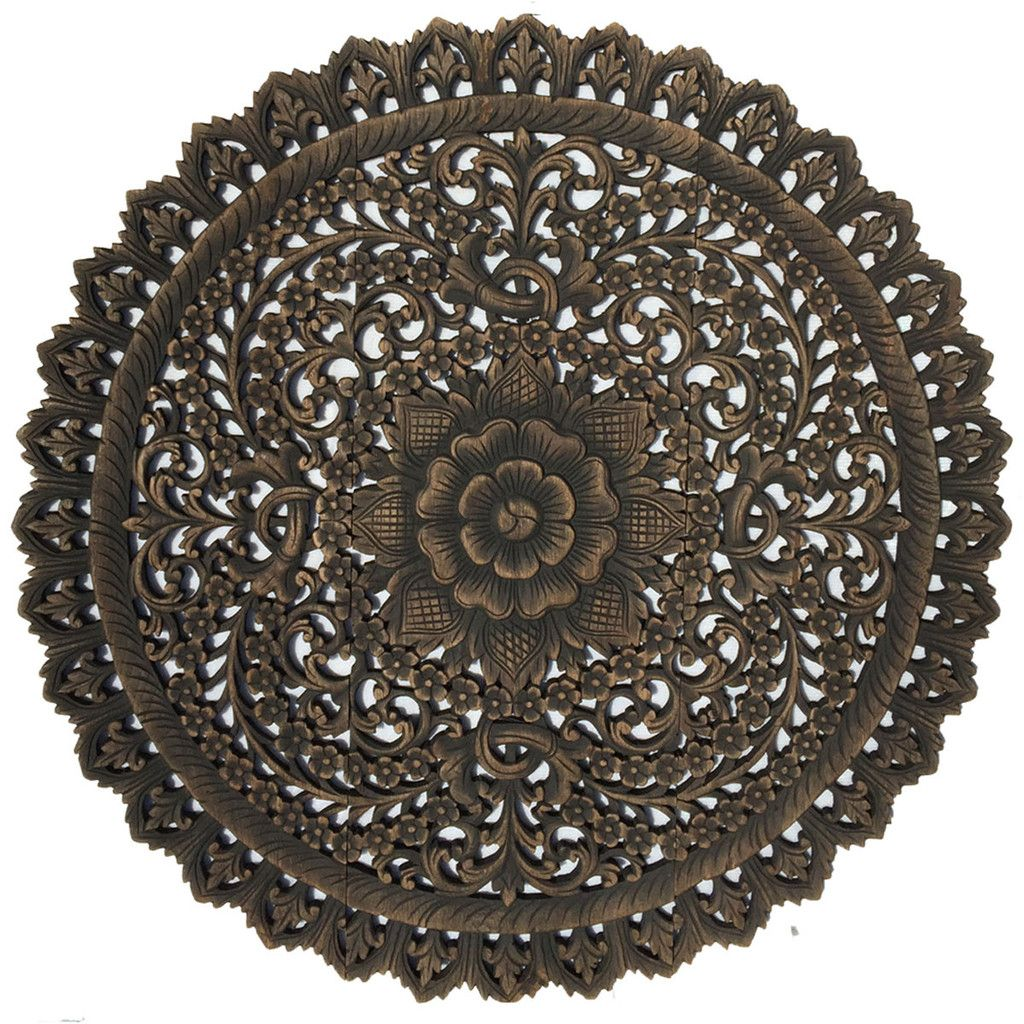 Elegant Medallion Wood Carved Wall Plaque Round Fl Art Asian Home Decor Panels Hangings 36 X36 X0 5