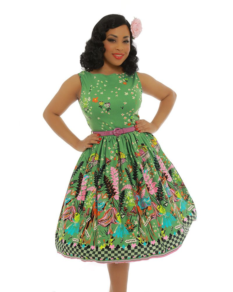 Audrey Green Alice Through The Looking Glass Print Swing Dress
