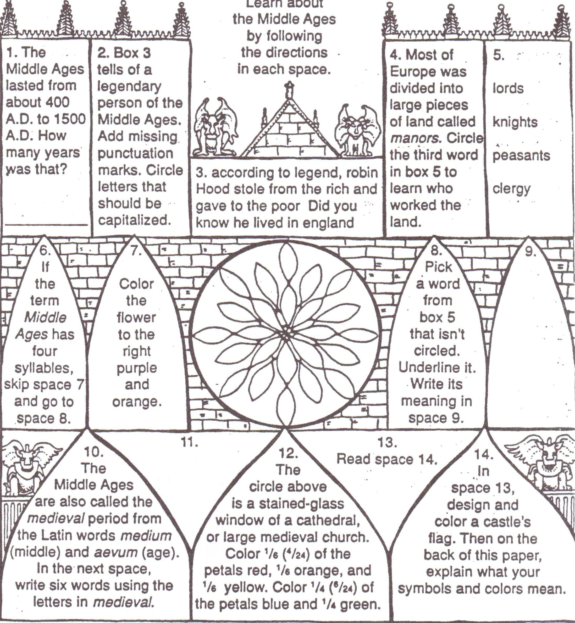 Middle Ages Worksheets 6th Grade Fiar Clown Of God Middle