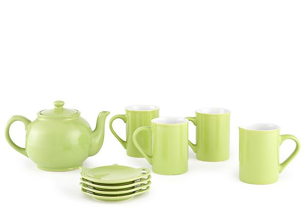 9-Piece Stoneware Tea Set, Bright Green  Price and Kensington  www.onekingslane.com