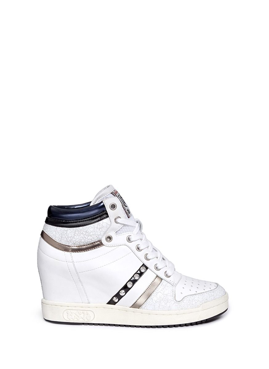 57fa0fd3c657 ASH  Prince  Stud High Top Leather Wedge Sneakers.  ash  shoes  sneakers