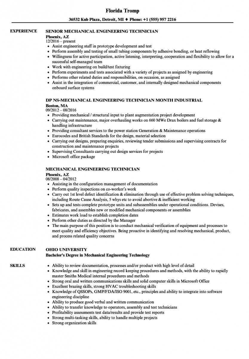 11 Greatest Resume For Mechanical Engineer 11 Best Resume