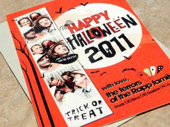 Batty Halloween Photo Strip Card Qty 10 by KittyMeowBoutique, $25.00
